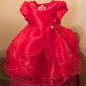 Nannette Baby Red Formal Holiday  Dress
